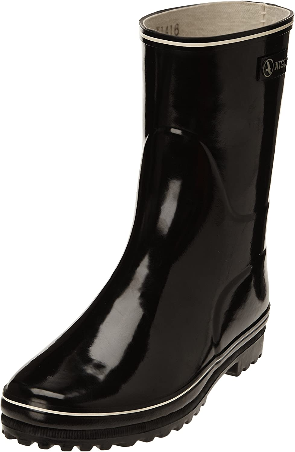 Aigle Womens Shiny Lined Natural Rubber Wellington Boots