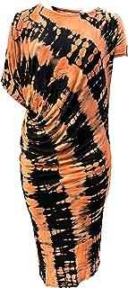 kathmandu imports Tie Dye Long Assymetrical Plus Size Maternity Dress, Free Size, Orange