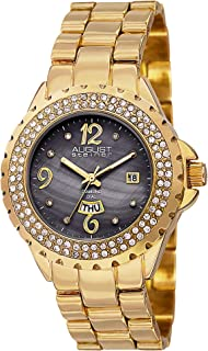 August Steiner Women's Crystal Bezel Fashion Watch - Black Mother of Pearl Diamond Dial with Big Number Hour Markers + Bonus Day of Week and Date Window on Yellow Gold Tone Bracelet - AS8156