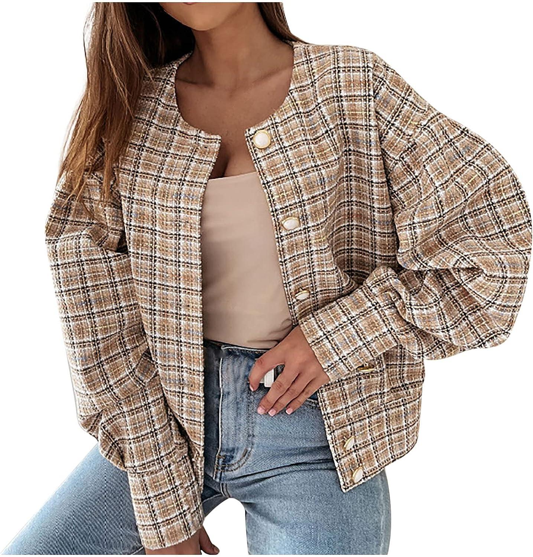 Women's Long Sleeve Crewneck Cardigan Coat Trendy Open Front Pearl Button Down Fall Outwear Loose Plus Size Jacket