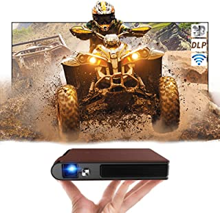 Battery Powered Mini Projector DLP WiFi Pico Projector Wireless Cast to Smartphone, HDMI Projector Support 1080P & 3D, Com...