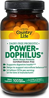 Country Life Power-Dophilus Dairy-Free Multi-Strain Probiotics 12 Billion CFUs - Digestive Health & Immune System Support ...