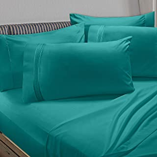 Clara Clark Premier 1800 Collection 5pc Bed Sheet Set with Extra Pillowcases - Twin, Teal