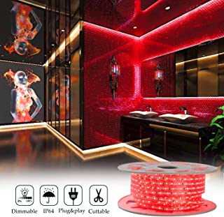 Shine Decor 7x10mm LED Strip Lights, 110V Dimmable Flexible Waterproof Rope Lights, 60LEDs/M, for Indoor Outdoor Ambient Commercial Lighting Decoration, Accessories Included, 50ft Red