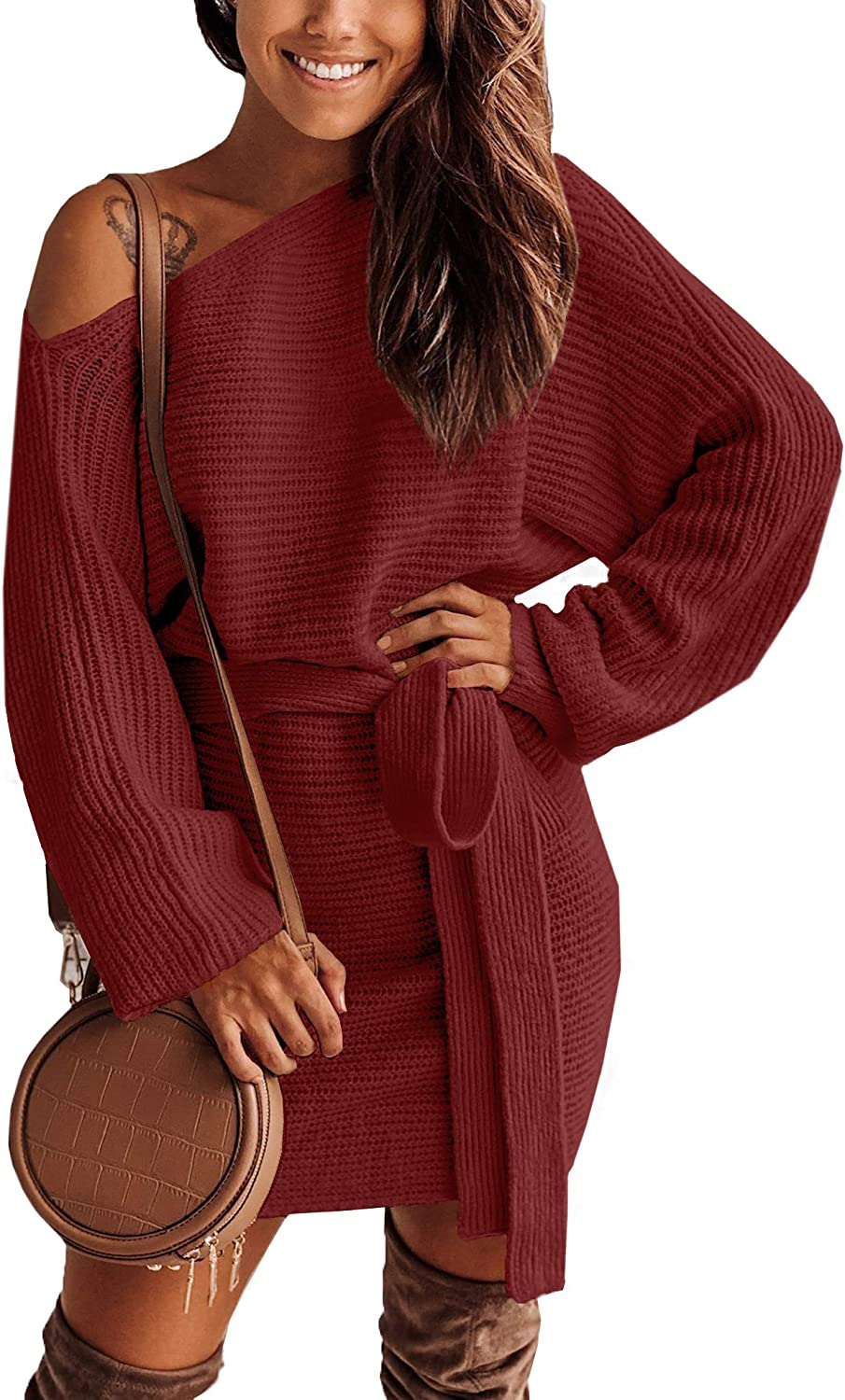 Clarisbelle Women's Warm Open Shoulder Solid Color Sweater Belted Batwing Sleeve Casual Tunic Dress Maroon M