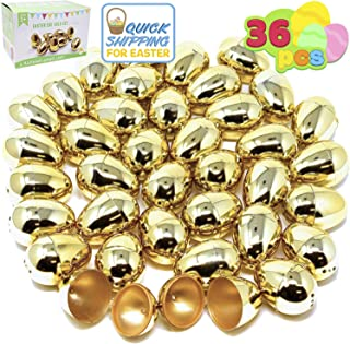 """36 Pieces Shiny Golden Metallic Easter Eggs 2 3/8"""" in Gold Color for Filling Specific Treats, Easter Theme Party Favor, Ea..."""