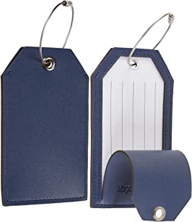 Leather Instrument Baggage Bag Luggage Tags with Privacy Cover 2 Pcs Set (Blue Navy)