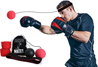 Boxing Mates Boxing Reflex Ball to Improve Hand Eye Coordination with Non-Slip Headband, Adjustable String, Two Training Balls, Hand Wraps, and Travel Pouch