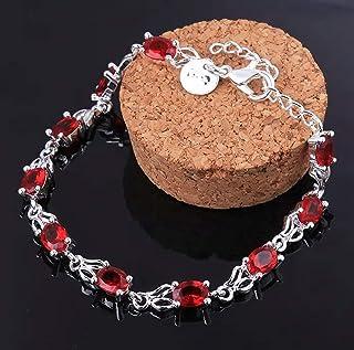 Pulsera de Plata y cristal de roca adaptable en rojo, con cadena para regular el tamaño de la muñeca.