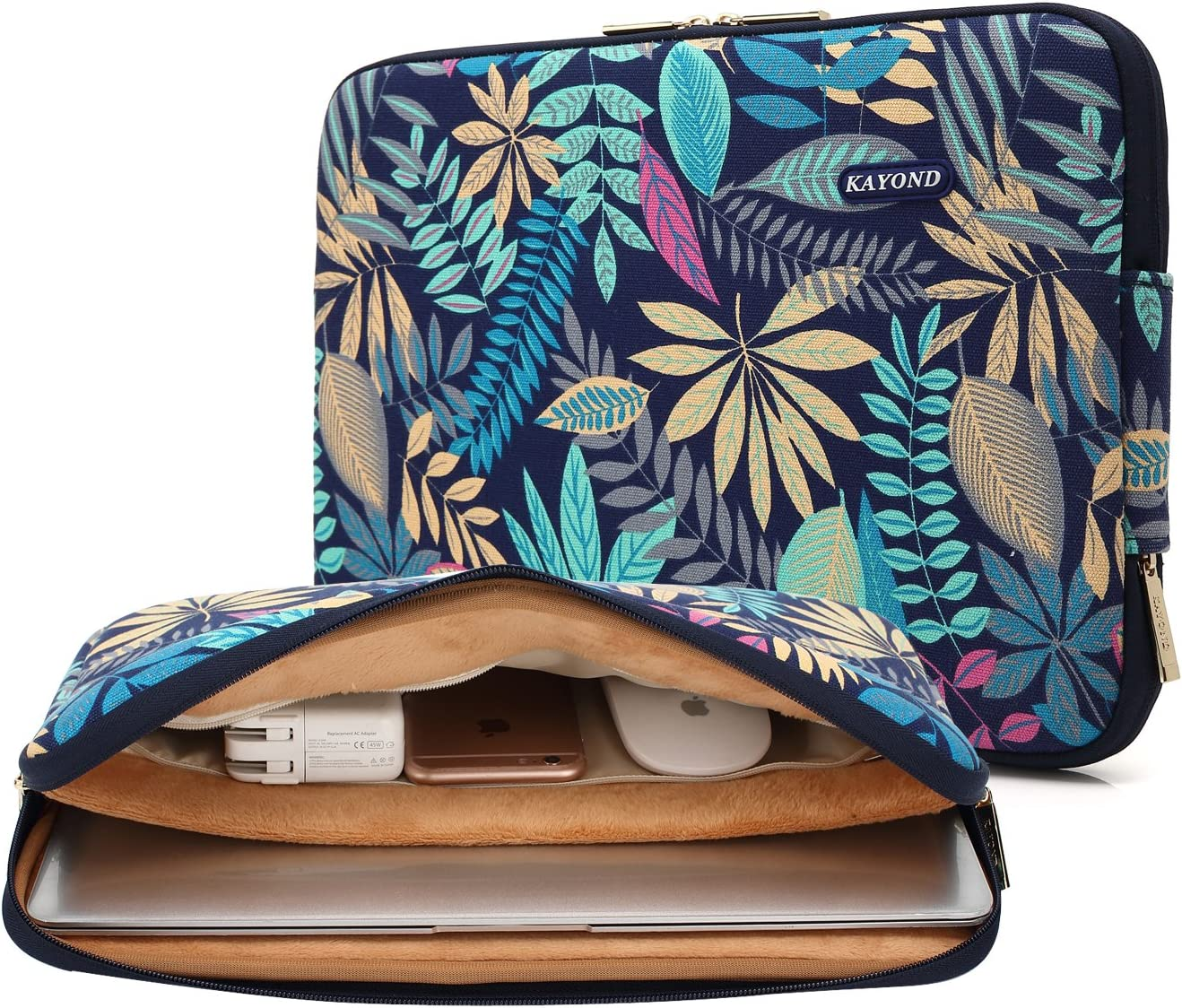 KAYOND Canvas Water-Resistant for 11-11.6 Inch Laptop Sleeve Case Bag (11-11.6 Inches, Forest Series Bule)