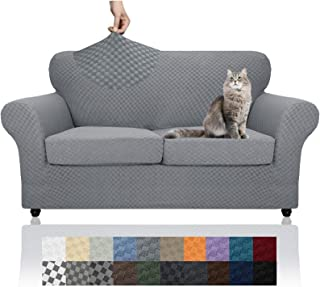 YEMYHOM Latest Checkered 3 Pieces Couch Covers for 2 Cushion Couch High Stretch Thickened Love Seat Sofa Cover for Dogs Pe...