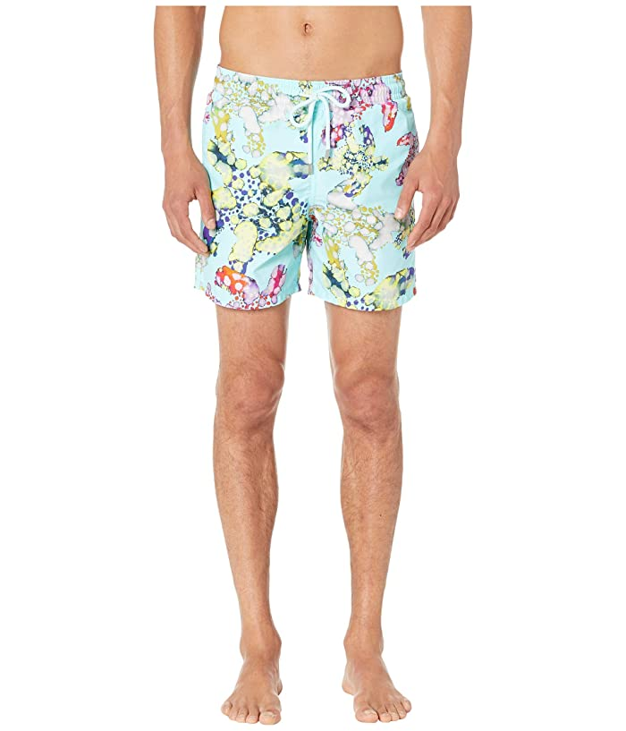Vilebrequin Moorea Watercolor Turtles Swim Trunks (Aqua) Men