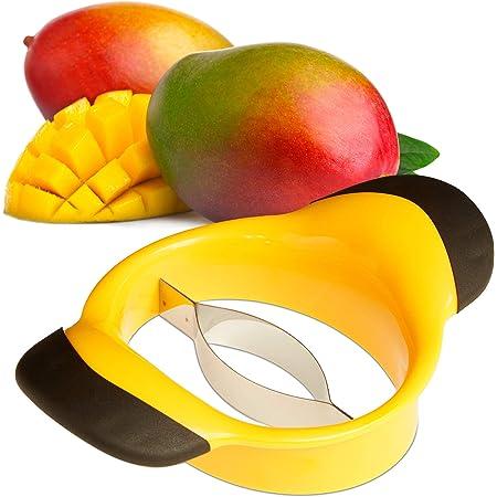 Relaxdays Coupe-mangue, diviser & dénoyauter, poignée antidérapante, lame acier inoxydable, trancheuse fruit, noir-jaune