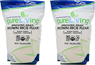 Pure Living Liv Organic SPROUTED Brown Rice Flour - 24 oz - PureLiving (Pack of 2) - Mildly sweet and aromatic, it acclima...