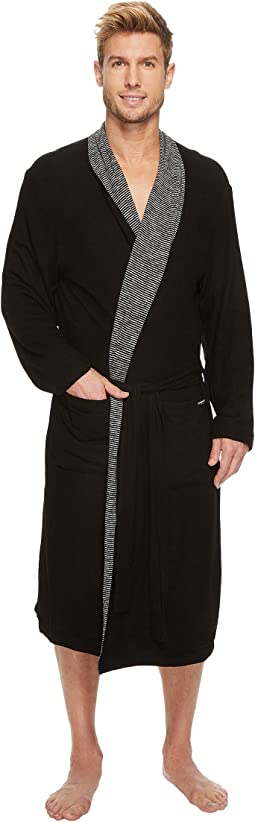 Kenneth Cole Reaction Cozy Sweater Robe with Reversible Stripe