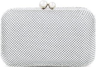 Topfive Perlentasche Abend-Clutch Frauen Hochzeit Braut Clutch Handtaschen Perlenkette Weiß Taschen für Frauen, silber,
