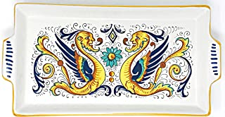 Made in Italy | Nova Deruta | White With Man Dragon With Wings In Sorrento Blue, Green, Brown & Yellow Ceramic Pieces (Plate Rectangle With Handles | 12 x 6 inches)