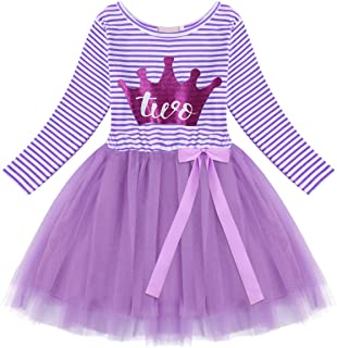 OKPEACE Baby Toddler Kids Girls Casual Horse Stripe Dress Long Sleeve Cotton Dress Outfit