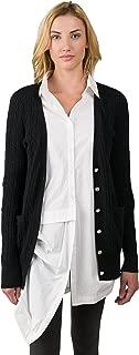J Cashmere Women's 100% Cashmere Cable-Knit V-Neck Long Button Cardigan Sweater