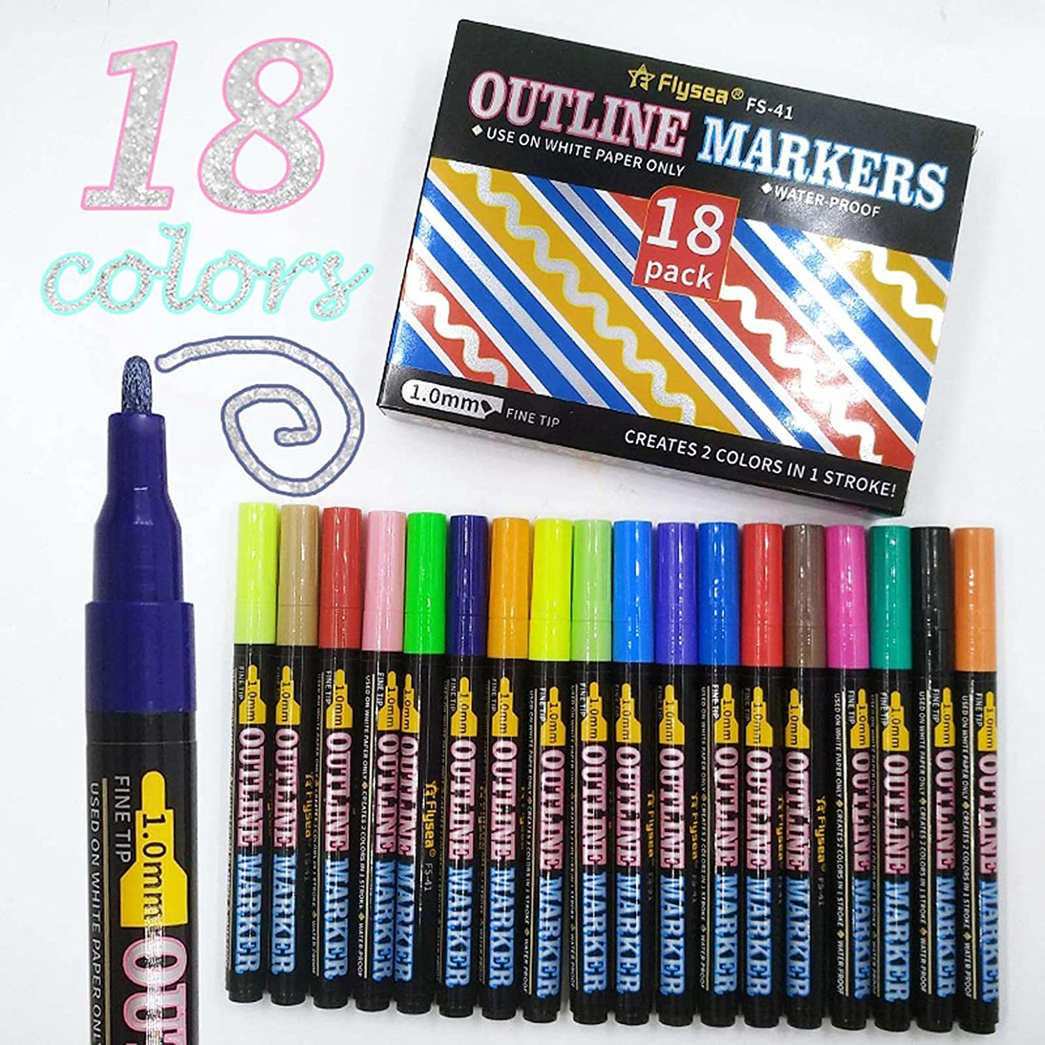 Double Line Outline Pens - Directly managed store Self depot 18 Colors Metallic Marke