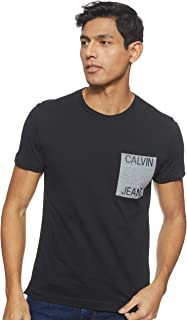 Calvin Klein Jeans Men's CALVIN JEANS POCKET SLIM TEE T-Shirts, Black (Ck Black / Grey Heather 099), Medium