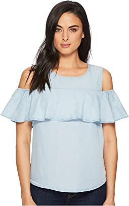 LAUREN Ralph Lauren - Ruffled Twill Cold-Shoulder Top