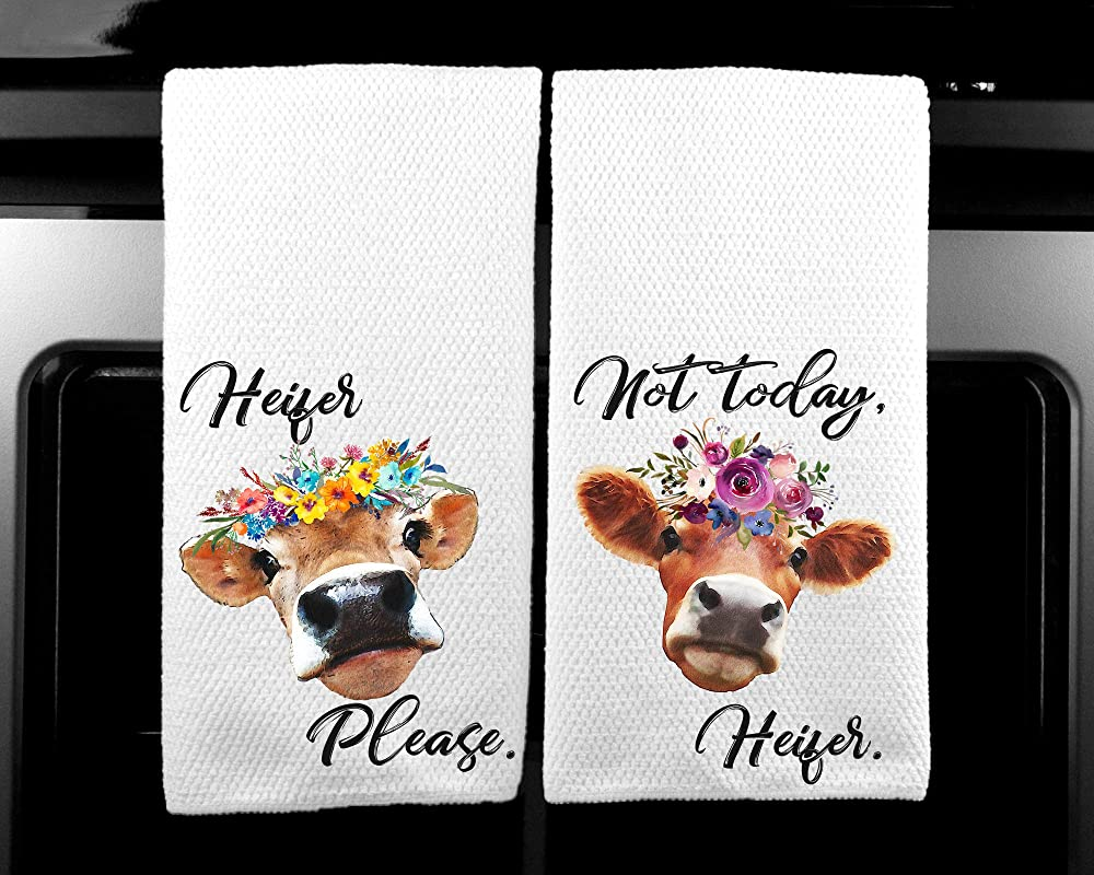 Heifer Please And Not Today Heifer Floral MIcrofiber Waffle Kitchen Towel Farm Gift Set Of 2