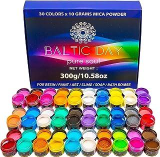 Mica Powder – 30 Colors Resealable Jars [300g/10.58oz] Set – Epoxy Resin Coloring Dye – Cosmetic Grade Pigment – Pearl Col...