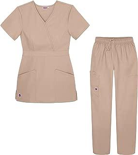 Women's Scrub Set - Multi Pocket Cargo Pants & Stylish...