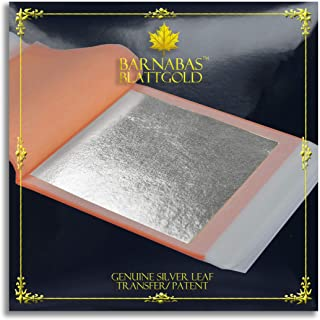 """Barnabas Blattgold - Genuine Silver Leaf Sheets, Professional Quality Booklets (Transfer, 3.75"""", 25 Sheets, Silver)"""