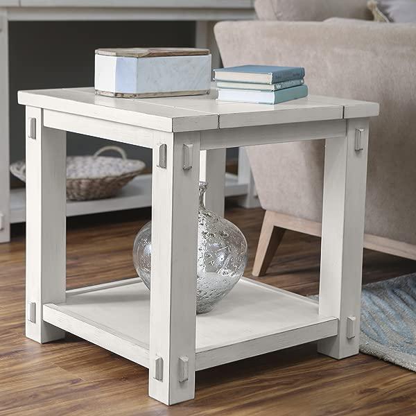 Belham Living Spacious Wood Top And Bottom Shelf Westcott Square End Table Antique White