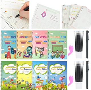 28pcs Magic Calligraphy Set, Reusable Handwriting Copybook for Kids Preschools Learning Letters, Numbers,Math and Drawing ...