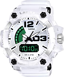 Lamkei Army White Black Analouge Digital White Transparent Strap Sport Watch for Men- CAH-1019