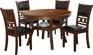 New Classic Furniture D1701 Gia Round Dining Set, 5 Piece, Brown