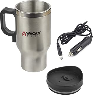 Wagan EL6100 12V Stainless Steel 16 oz Heated Travel Mug with Anti-Spill Lid, 1 Pack