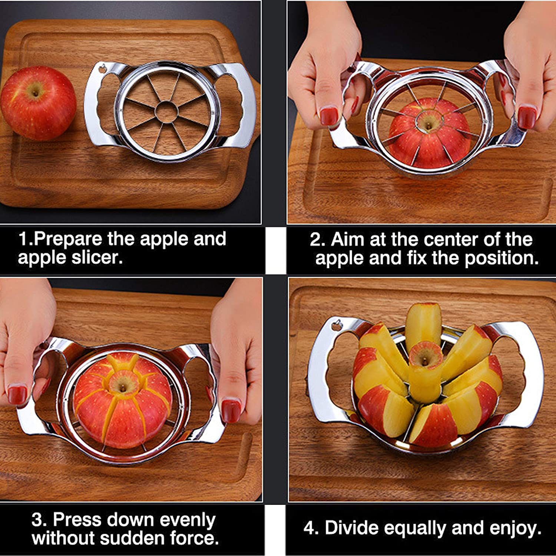 Divider Apple Slicer Upgraded 2021 Stainless Steel Ultra-Sharp Apple Cutter Decorer Tool for Up to 4 Inches Apples Wedger Fruit Corer /& Slicer Cookfree 8-Blade Extra Large Apple Corer Peeler