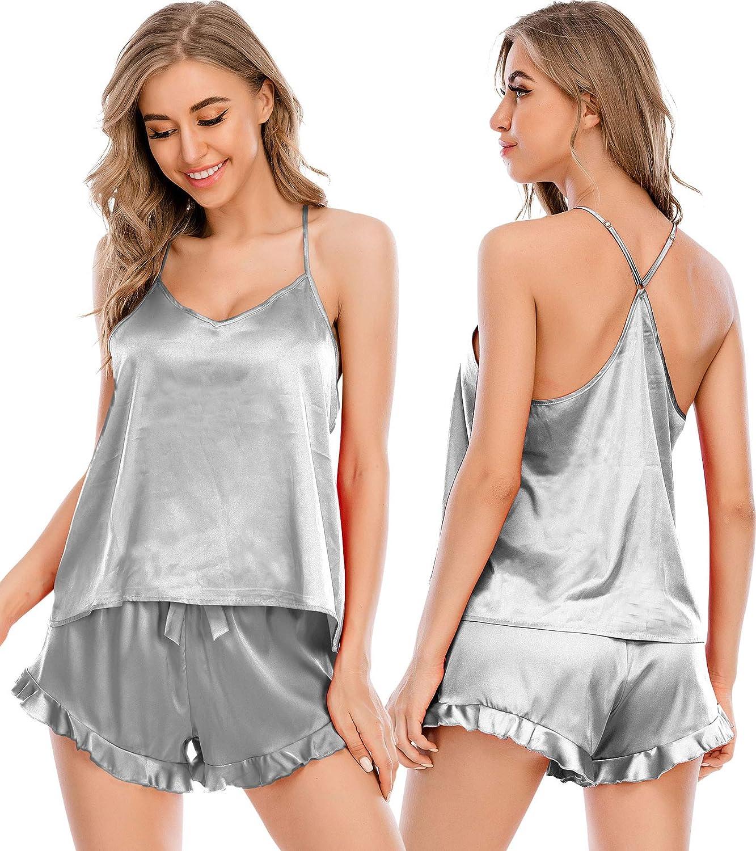 ECHOINE Womens Sexy Pajama Set - Cross Back Flare Satin PJ Lingerie Set Sleepwear Cami Shorts Set Nightwear S-XXL