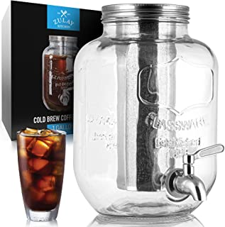 Zulay Kitchen - Cafetera fría de 1 galón con jarra de vidrio y filtro de malla de acero inoxidable – Cafetera helada premi...