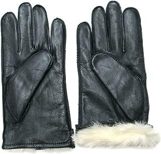 FOWNES Men's Rabbit Fur Lined Black Napa Leather Gloves