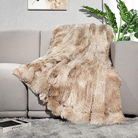 """Lvylov Decorative Soft Fluffy Faux Fur Throw Blanket 50"""" x 60"""",Reversible Long Shaggy Cozy Furry Blanket,Comfy Microfiber Accent Chic Plush Fuzzy Blanket for Sofa/Couch/Bed,Breathable & Washable,Beige"""