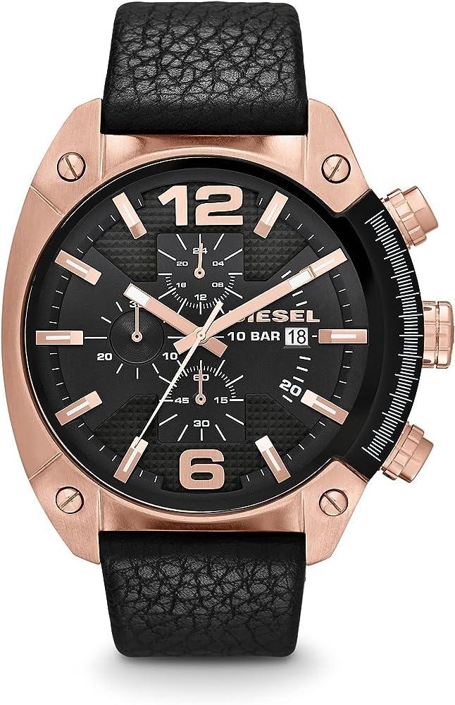 Diesel time frames orologio cronografo da uomo cassa in acciaio inossidabile e cinturino in vera pelle DZ4297