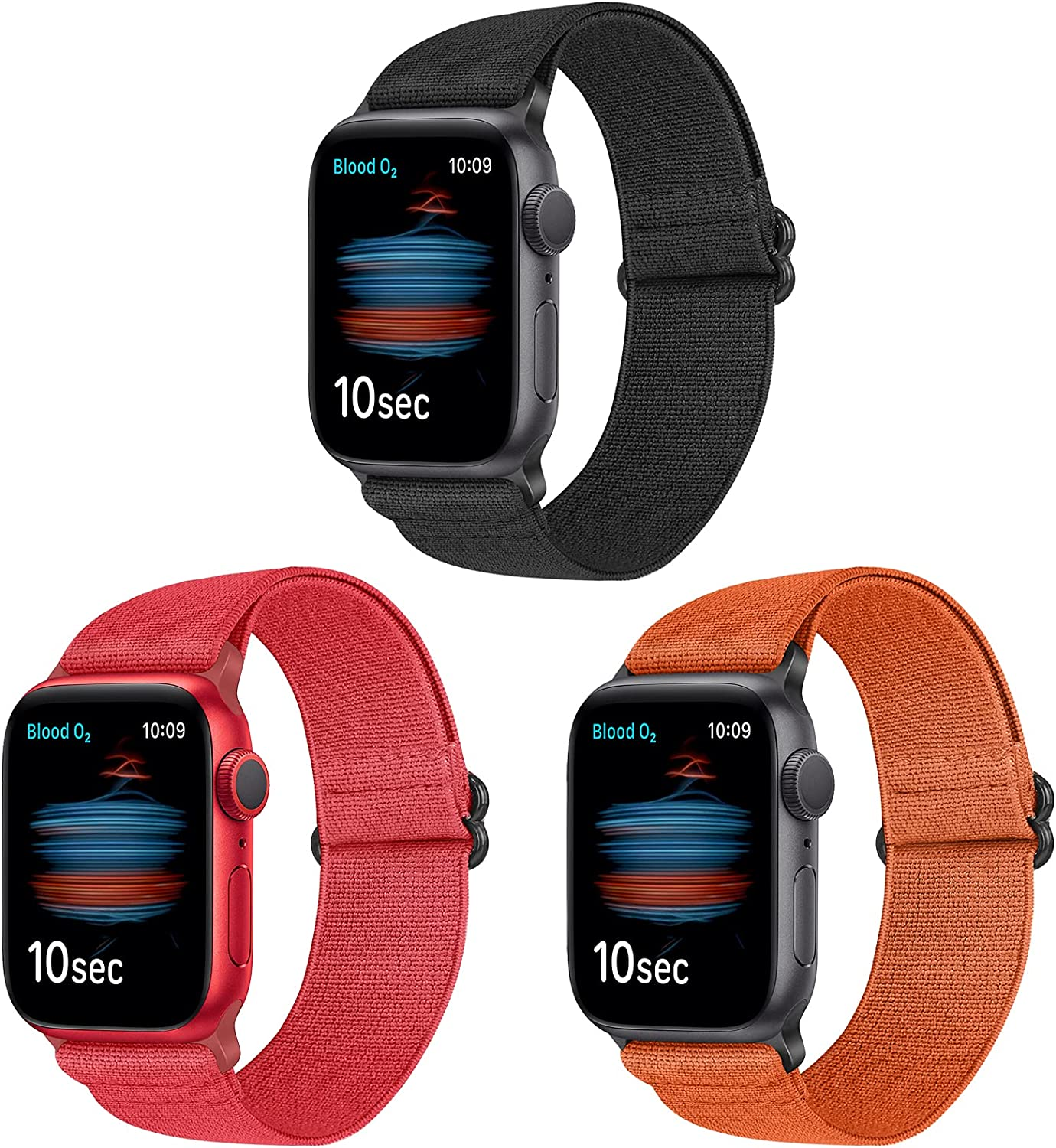 WNIPH Elastic Nylon Solo Loop Bands Compatible With Apple Watch 44mm 42mm 40mm 38mm, Adjustable Stretchy Sport Replacement Wristband Compatible for iWatch Series 6/5/4/3/2/1/SE Women Men