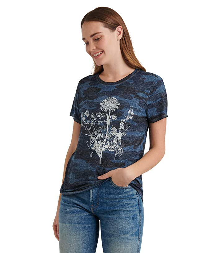 Lucky Brand  Short Sleeve Crew Neck Floral Camo Tee (Blue Multi) Womens Clothing