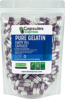 Capsules Express- Size 0 Purple Pearl and White Pearl Empty Gelatin Capsules - Kosher Certified - Gluten-Free Pure Bovine ...