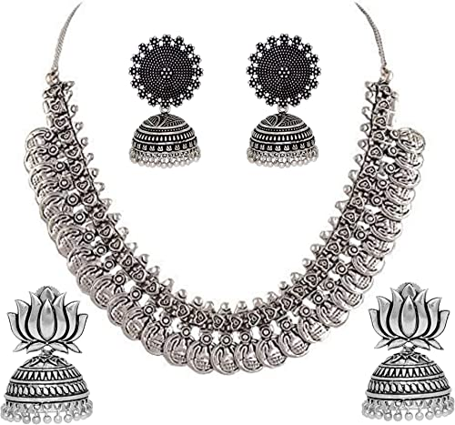 Oxidised German Silver Jewellery Combo Set For Girls And Women