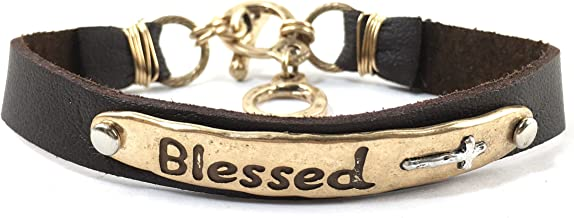 Western Peak Western Hammered Blessed John 3:16 Prayer Faith Leather Bracelet