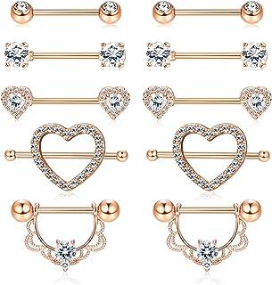 YADOCA 5 Pairs Stainless Steel Nipplerings Nipple Rings Tongue Ring CZ Barbell Heart Shape Rings Body Piercing Jewelry Set...