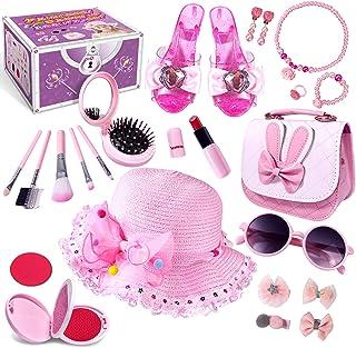 Kids Pretend Dress Up Makeup Set, Princess Role Play Kit Fake Makeup Jewelry Toys Accessories Sunglass Shoes Fashion Cosme...