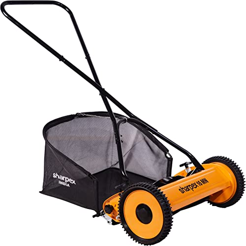 Sharpex Push Manual Lawn Mower with Grass Catcher | Classic Push Reel Lawn Mower | 16-Inch Reel Lawn Mower with Grass...