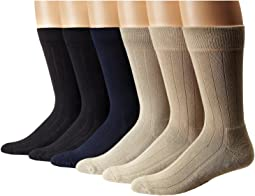 Solid  Color Rib Cushion Socks 6 Pack